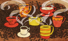 Coffee Cups Mural Wallpaper