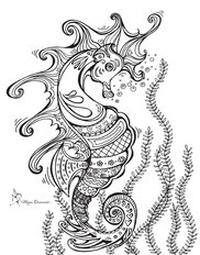 Colorable Seahorse Wall Mural