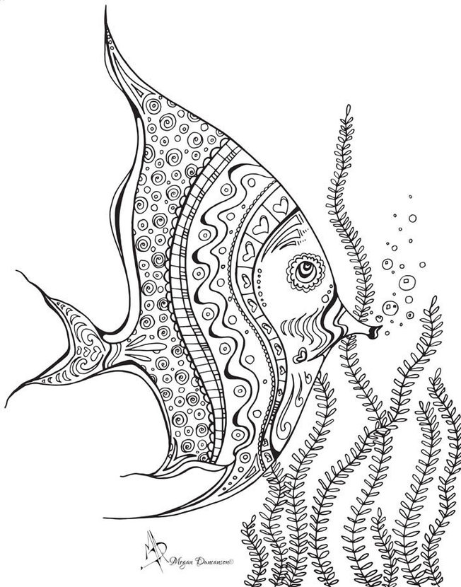 Colorable Tropical Fish Wall Mural