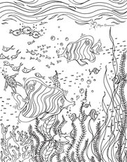 Colorable Underwater Scene Wallpaper Mural