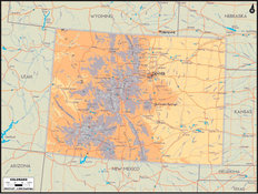 Colorado Map Wallpaper Mural