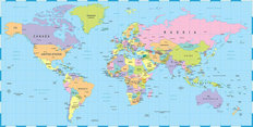 Colored World Map Wall Mural