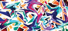 Colorful Abstract Graffiti Style Mural Wallpaper