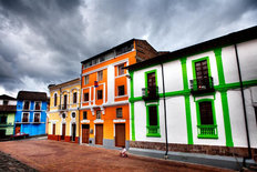 Colorful Buildings in City Wall Mural