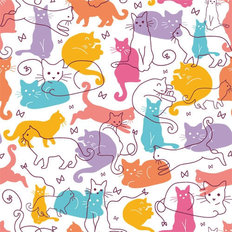 Colorful Cats Pattern Wallpaper