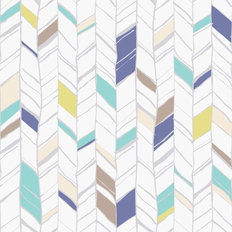 Colorful Hand Drawn Herringbone Pattern Wallpaper