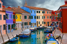 Colorful Houses on Borano Island near Venice, Italy Mural Wallpaper