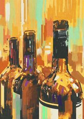 Colorful Painting Of Wine Bottles Wall Mural