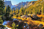 Colorful Rocky Mountain Forest Mural Wallpaper