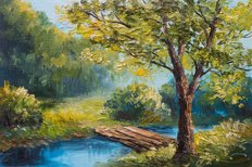Colorful Summer Forest Oil Painting Wall Mural
