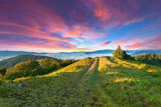 Colorful Summer Sunset In The Mountains Wallpaper Mural