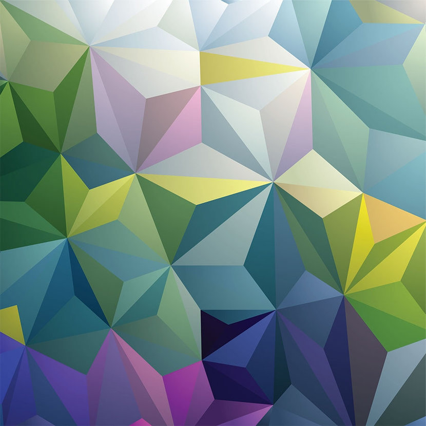 Geometric pattern design full of green triangles and other colors