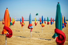Colorful Umbrellas On Beach Of Deauville Wall Mural