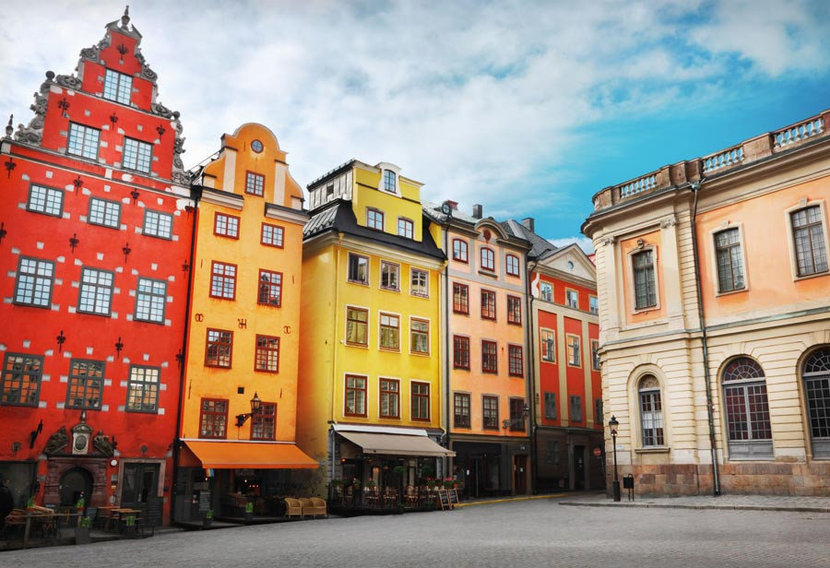 colorful buildings of the European city Stockholm