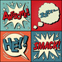 Four panels contain a set of speech bubbles in a pop art style