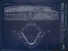 Comiskey Park Blueprint Mural Wallpaper