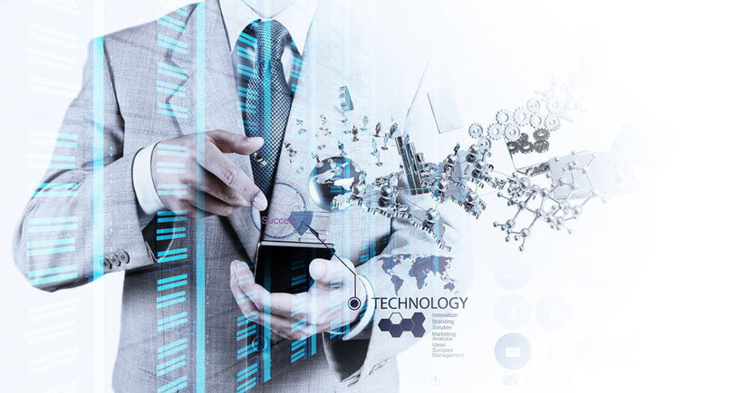 Concept Of Businessman With Technology