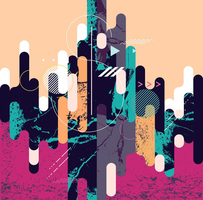 Graphic design is filled with colorful organic shapes and rich textures