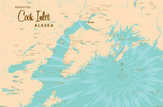 Cook Inlet, AK Lake Map Mural Wallpaper