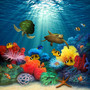Colorful under the sea painting filled with tropical fish, a sea turtle, and a coral reef.