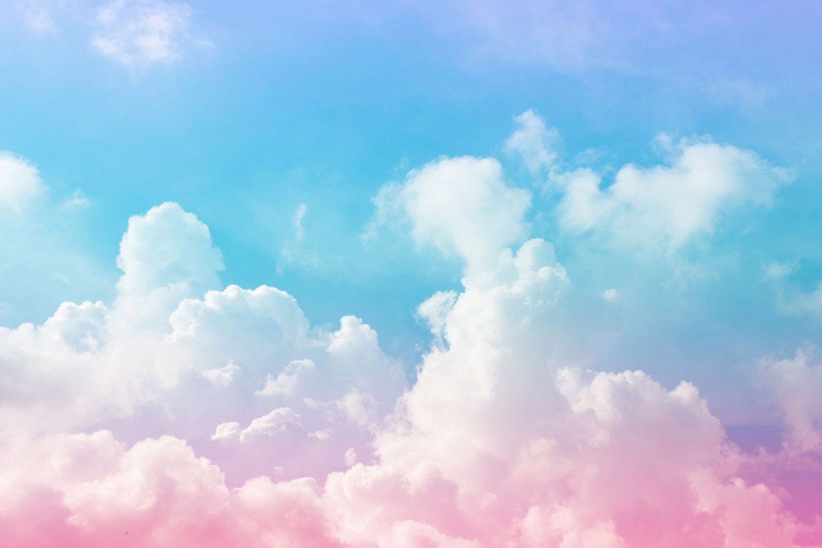 large clouds with pink and blue pastel color scheme resembles cotton candy