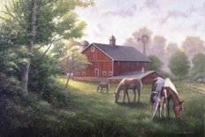 Country Road With Horses And Barn Mural Wallpaper