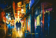 Couple Walking In Alley Wall Mural