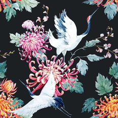 Cranes And Flowers Pattern Wallpaper