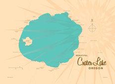 Crater Lake, OR Lake Map Wallpaper Mural