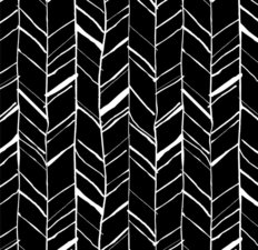 Black And White Hand Drawn Herringbone Wallpaper