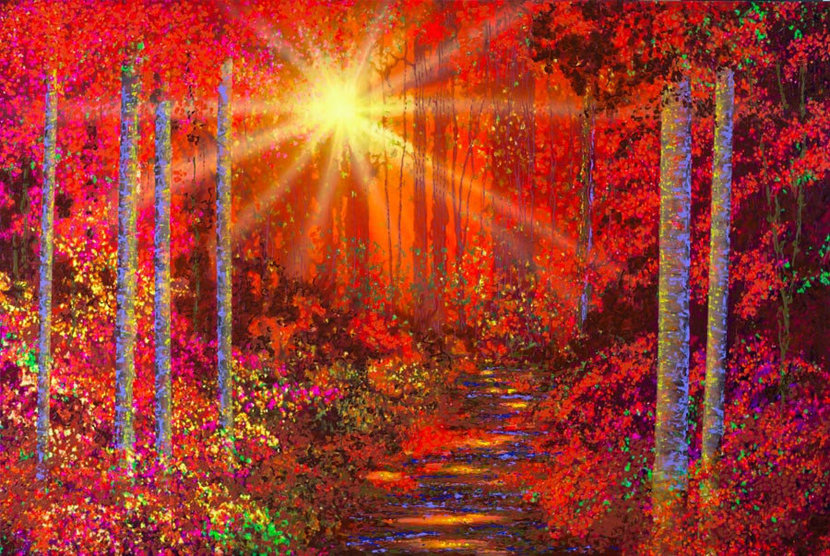 Art by David Miller of a crimson forest with a sun set in the background