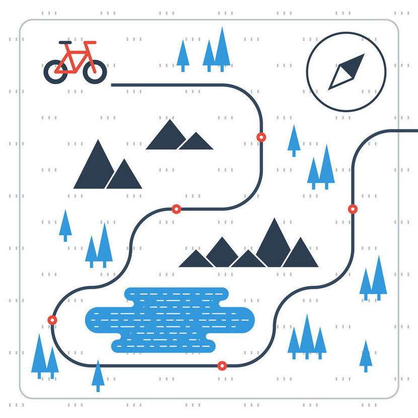 Image depicts a plotted path for a bicycle to travel; through a forest, past mountain ranges, and around a lake.