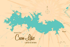 Cross Lake, LA Lake Map Mural Wallpaper
