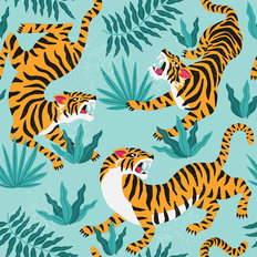 Crouching Tiger Pattern Wallpaper
