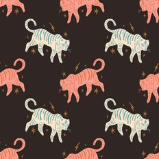 Cute Cartoon Tiger Pattern Wallpaper