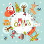Christmas image with a bunch of adorable characters, including Santa Clause and forest critters