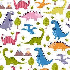 Cute Dinosaur Pattern Wallpaper
