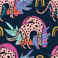 Cute Leopard And Tropical Plants Pattern Wallpaper