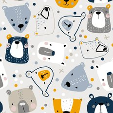 Cute Teddy Bear Faces Pattern Wallpaper
