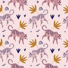 Cute Tiger Scandinavian Pattern Wallpaper