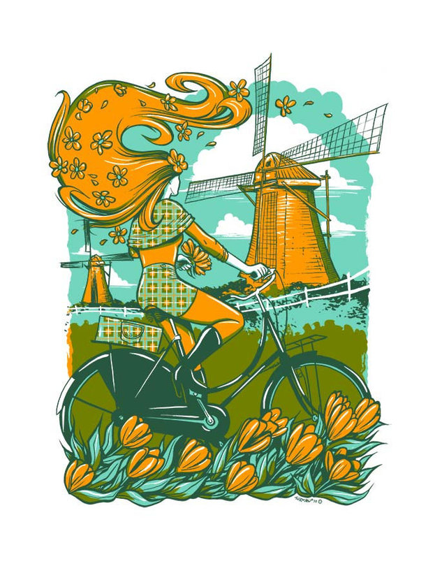 Young woman takes her bicycle out for a spin in the Dutch countryside