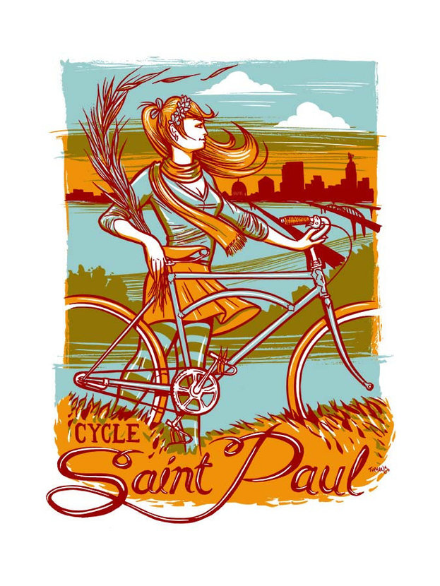 Young woman stands with her bicycle outside St. Paul gazing at the skyline off in the distance