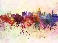 Dallas Skyline In Watercolor Mural Wallpaper
