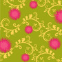 Dandelions - Fuschia, Green & Yellow Wallpaper