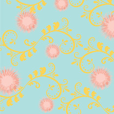 Dandelions - Sky, Pastel Pink & Yellow Wallpaper