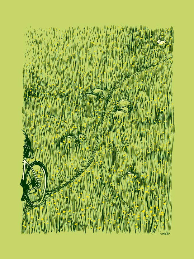 Bicycle treads through an expansive field of dandelions