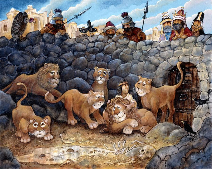 biblical image of daniel in the lion's den