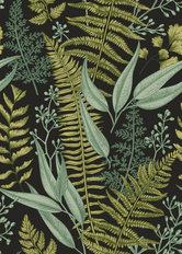 Dark Botanical Leaves Wallpaper Mural