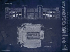 Darrell K Royal Texas Memorial Stadium Blueprint Wallpaper Mural