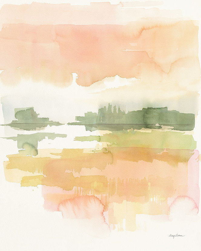 colorful watercolor wallpaper in greens yellows oranges and pinks resembling a sunset over a forest lake